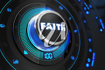 Faith Controller on Black Control Console with Blue Backlight. Improvement, regulation, control or management concept.