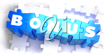 Bonus - White Word on Blue Puzzles on White Background. 3D Illustration.