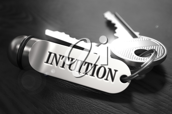 Intuition Concept. Keys with Keyring on Black Wooden Table. Closeup View, Selective Focus, 3D Render. Black and White Image.