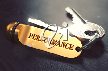 Performance Concept. Keys with Golden Keyring on Black Wooden Table. Closeup View, Selective Focus, 3D Render. Toned Image.