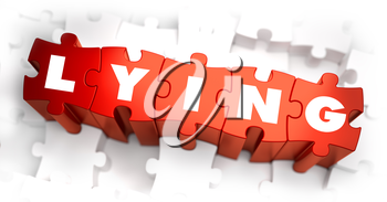 Lying - Text on Red Puzzles with White Background. 3D Render.
