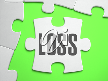 Loss - Jigsaw Puzzle with Missing Pieces. Bright Green Background. Close-up. 3d Illustration.