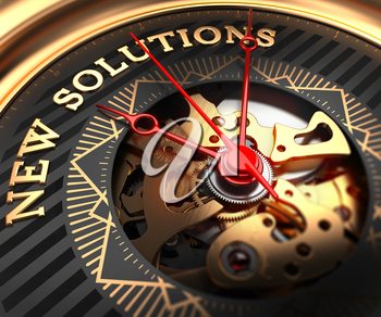 New Solutions on Black-Golden Watch Face with Watch Mechanism. Full Frame Closeup.
