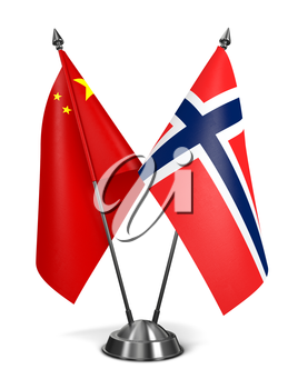 China and Norway - Miniature Flags Isolated on White Background.