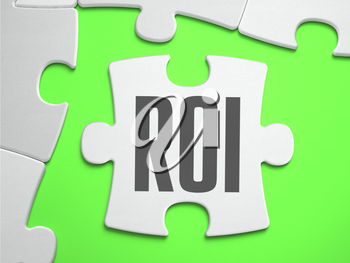 ROI - Return on Investment - Jigsaw Puzzle with Missing Pieces. Bright Green Background. Close-up. 3d Illustration.