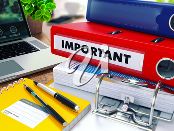 Important - Red Ring Binder on Office Desktop with Office Supplies and Modern Laptop. Business Concept on Blurred Background. Toned Illustration.