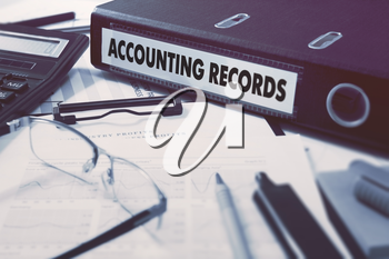 Accounting Records - Ring Binder on Office Desktop with Office Supplies. Business Concept on Blurred Background. Toned Illustration.