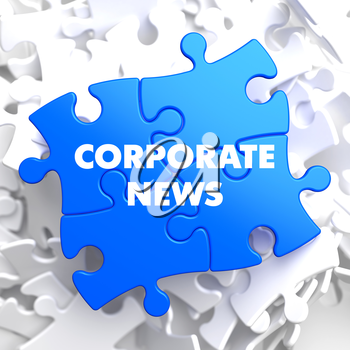 Corporate News on Blue Puzzle on White Background.