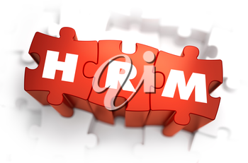 HRM - Text on Red Puzzles with White Background. 3D Render.