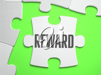 Reward - Jigsaw Puzzle with Missing Pieces. Bright Green Background. Close-up. 3d Illustration.