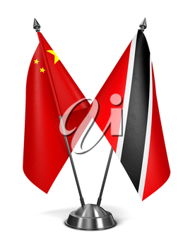 China, Trinidad and Tobago - Miniature Flags Isolated on White Background.
