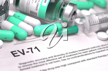 EV-71 - Printed Diagnosis with Blurred Text. On Background of Medicaments Composition - Mint Green Pills, Injections and Syringe.