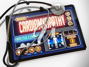 Cardiomyopathy - Diagnosis on the Display of Medical Tablet and a Black Stethoscope on White Background.