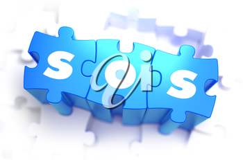 SOS - Save Our Souls - White Word on Blue Puzzles on White Background. 3D Render.