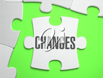 Change  - Jigsaw Puzzle with Missing Pieces. Bright Green Background. Close-up. 3d Illustration.