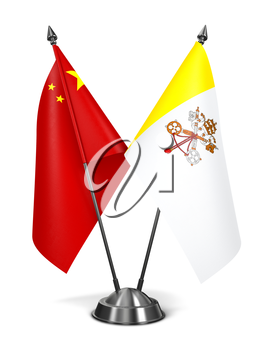China and Vatican City - Miniature Flags Isolated on White Background.