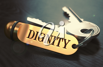 Dignity Concept. Keys with Golden Keyring on Black Wooden Table. Closeup View, Selective Focus, 3D Render. Toned Image.