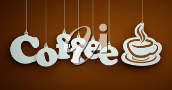 Coffee - the word of the white letters and stencil of cup hanging on the ropes on a brown background.