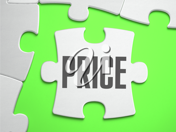 PRICE - Jigsaw Puzzle with Missing Pieces. Bright Green Background. Close-up. 3d Illustration.