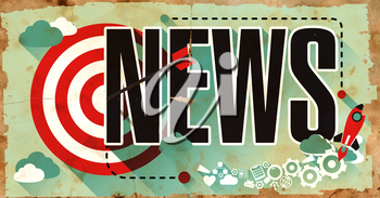News - Word Drawn on Old Poster. Business Concept in Flat Design.