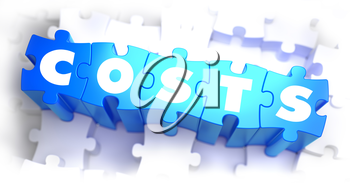 Costs - Word on Blue Puzzles on White Background. 3D Render.