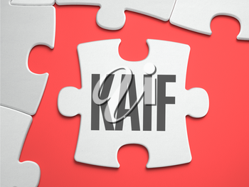 Kaif  - Text on Puzzle on the Place of Missing Pieces. Scarlett Background. Close-up. 3d Illustration.