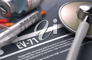 Diagnosis - EV-71. Medical Concept with Blurred Text, Stethoscope, Pills and Syringe on Grey Background. Selective Focus.
