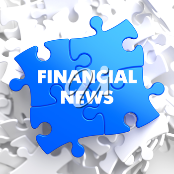 Financial News on Blue Puzzle on White Background.