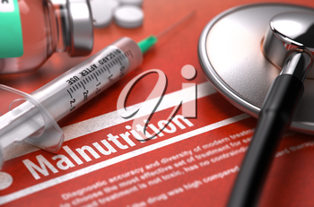 Malnutrition. Medical Concept on Orange Background with Blurred Text and Composition of Pills, Syringe and Stethoscope. Selective Focus.