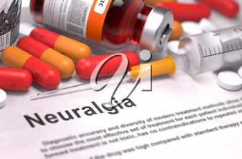 Diagnosis - Neuralgia. Medical Concept with Red Pills, Injections and Syringe. Selective Focus. 3D Render.