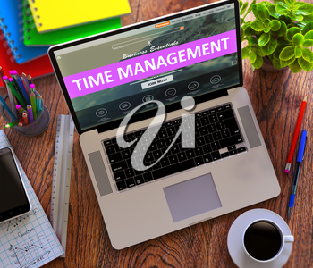 Time Management on Laptop Screen. Online Working Concept.