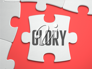 Glory - Text on Puzzle on the Place of Missing Pieces. Scarlett Background. Close-up. 3d Illustration.