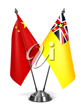 China and Niue - Miniature Flags Isolated on White Background.