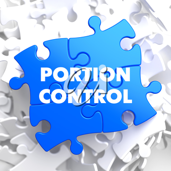 Portion Control on Blue Puzzle on White Background.