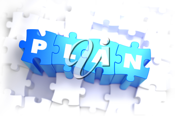 Plan - Text on Blue Puzzles on White Background. 3D Render.