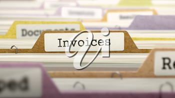Invoices Concept. Colored Document Folders Sorted for Catalog. Closeup View. Selective Focus.