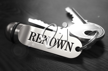 Renown Concept. Keys with Keyring on Black Wooden Table. Closeup View, Selective Focus, 3D Render. Black and White Image.