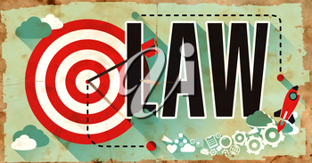 Law Concept on Old Poster in Flat Design with Red Target, Rocket and Arrow.