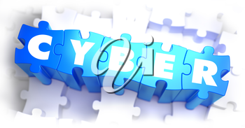 Cyber - White Word on Blue Puzzles on White Background. 3D Render.