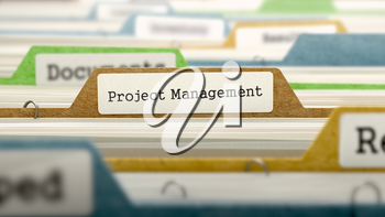 Project Management - Folder Register Name in Directory. Colored, Blurred Image. Closeup View.