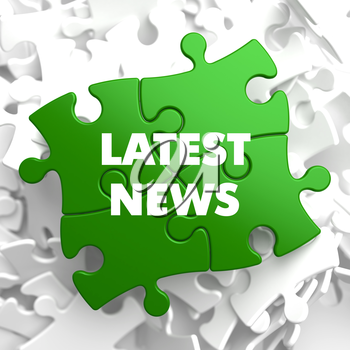 Latest News on Green Puzzle on White Background.