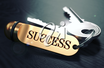 Keys to Succes - Concept on Golden Keychain over Black Wooden Background. Closeup View, Selective Focus, 3D Render. Toned Image.