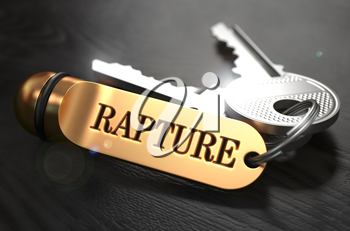 Keys with Word Rapture on Golden Label over Black Wooden Background. Closeup View, Selective Focus, 3D Render.