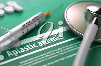 Aplastic anemia - Medical Concept with Blurred Text, Stethoscope, Pills and Syringe on Green Background. Selective Focus.