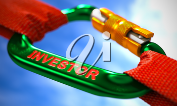 Green Carabine with Red Ropes on Sky Background, Symbolizing the Investor. Selective Focus.