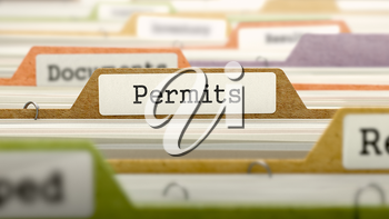 Permits Concept on Folder Register in Multicolor Card Index. Closeup View. Selective Focus.