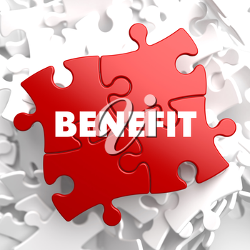 Benefit on Red Puzzle on White Background.