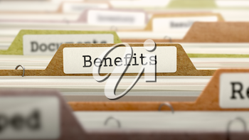 Benefits - Folder Register Name in Directory. Colored, Blurred Image. Closeup View.
