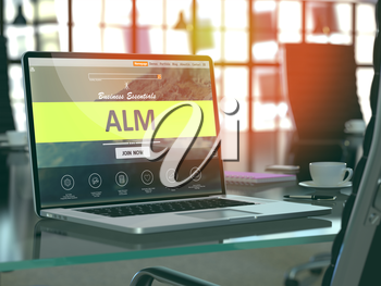 ALM - Application Lifecycle Management - Concept Closeup on Laptop Screen in Modern Office Workplace. Toned Image with Selective Focus.