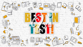 Best In Test - Multicolor Concept with Doodle Icons Around on White Brick Wall Background. Modern Illustration with Elements of Doodle Design Style.